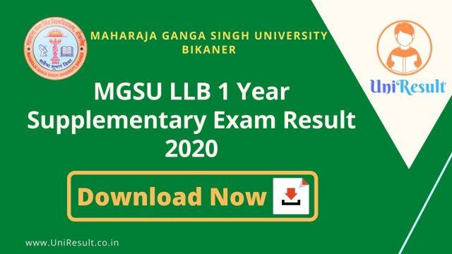 MGSU LLB 1 Year Supplementary Exam Result 2020