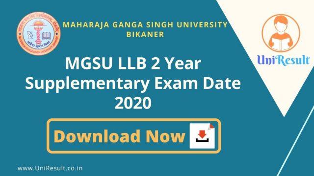MGSU LLB 2 Year Supplementary Exam Date 2020