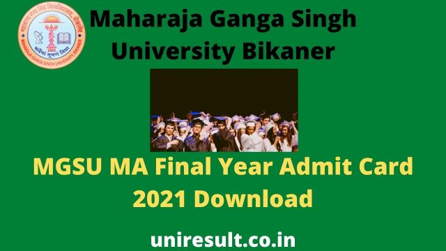 MGSU MA Final Year Admit Card 2021