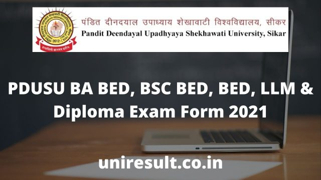 PDUSU BA BED, BSC BED, BED, LLM & Diploma Exam Form 2021