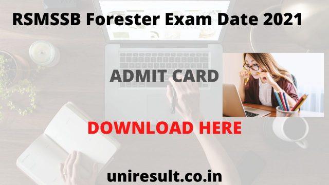 RSMSSB Forester Admit Card