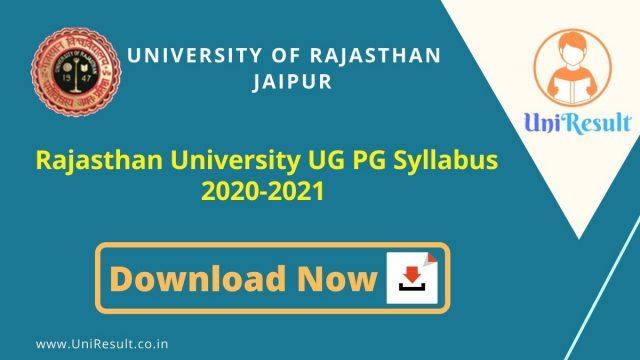 Rajasthan University UG PG Syllabus 2021