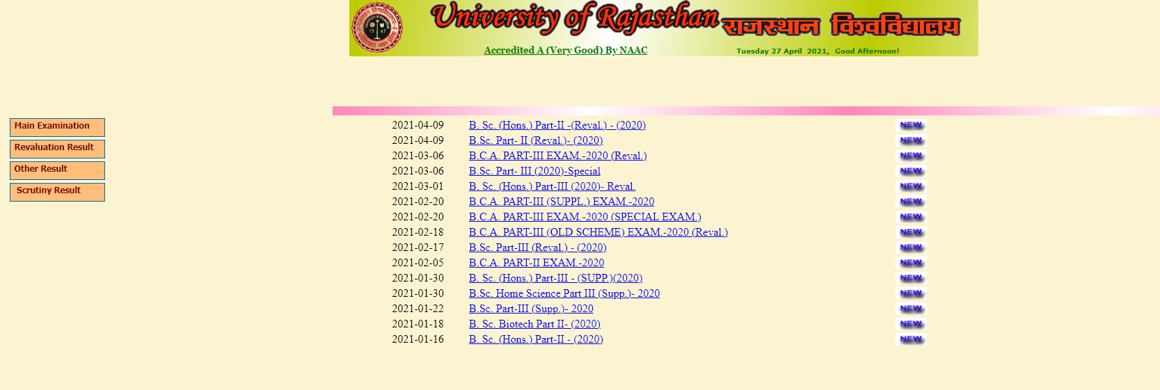 Uniraj BSC Part 2 (Reval) Result