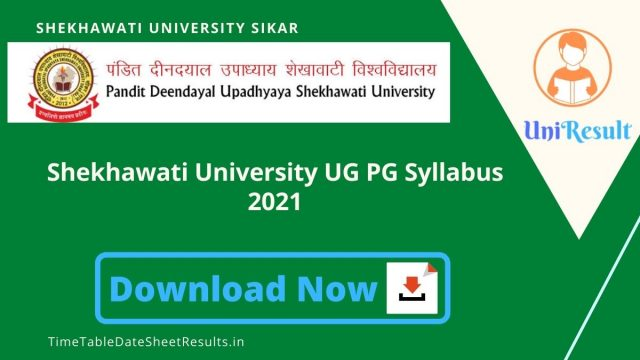 Shekhawati University UG PG Syllabus 2021