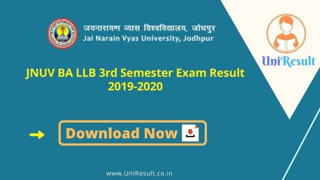 JNUV BA LLB 3rd Semester Exam Result 2019-2020