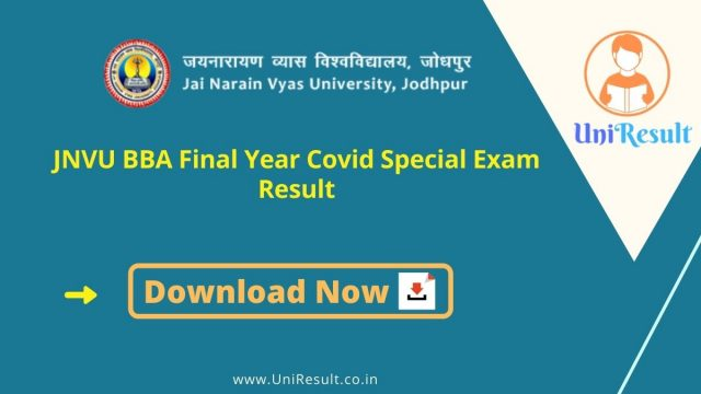JNVU BBA Final Year Covid Special Exam Result