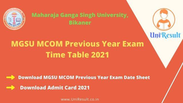 MGSU-MCOM-Previous-Year-Exam-Time-Table-2021