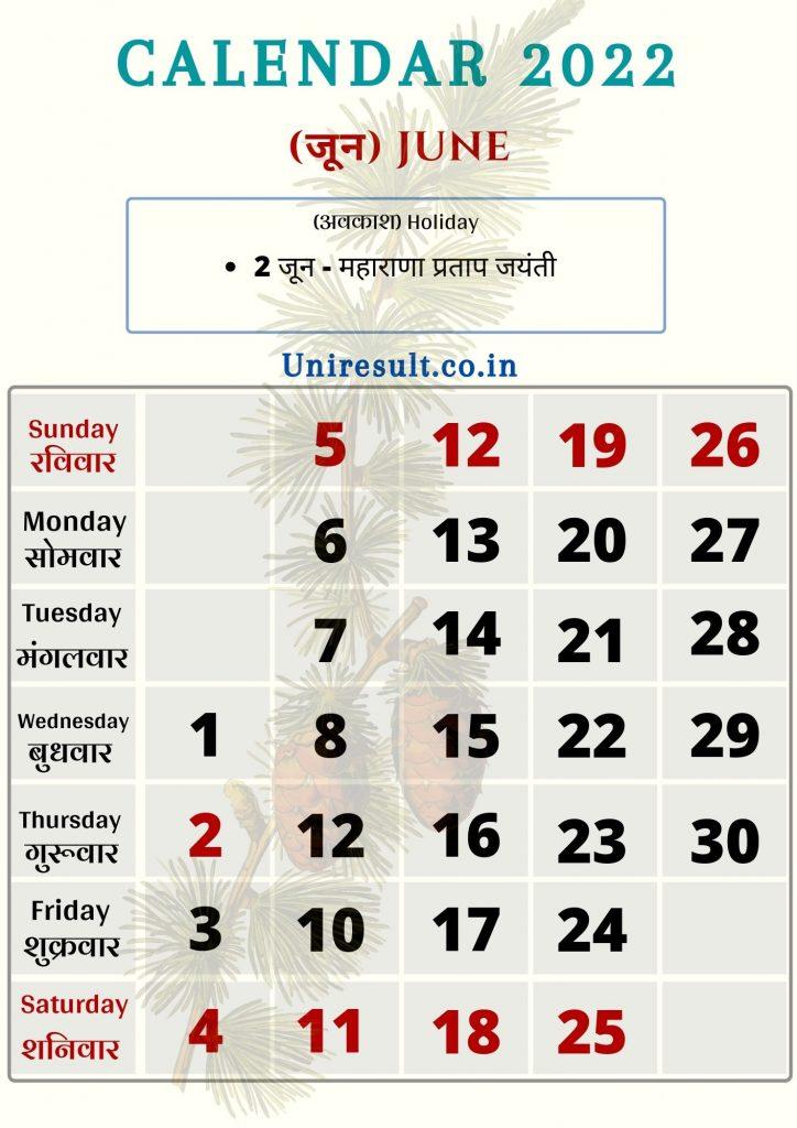 Rajasthan Government Holiday calendar June 2022