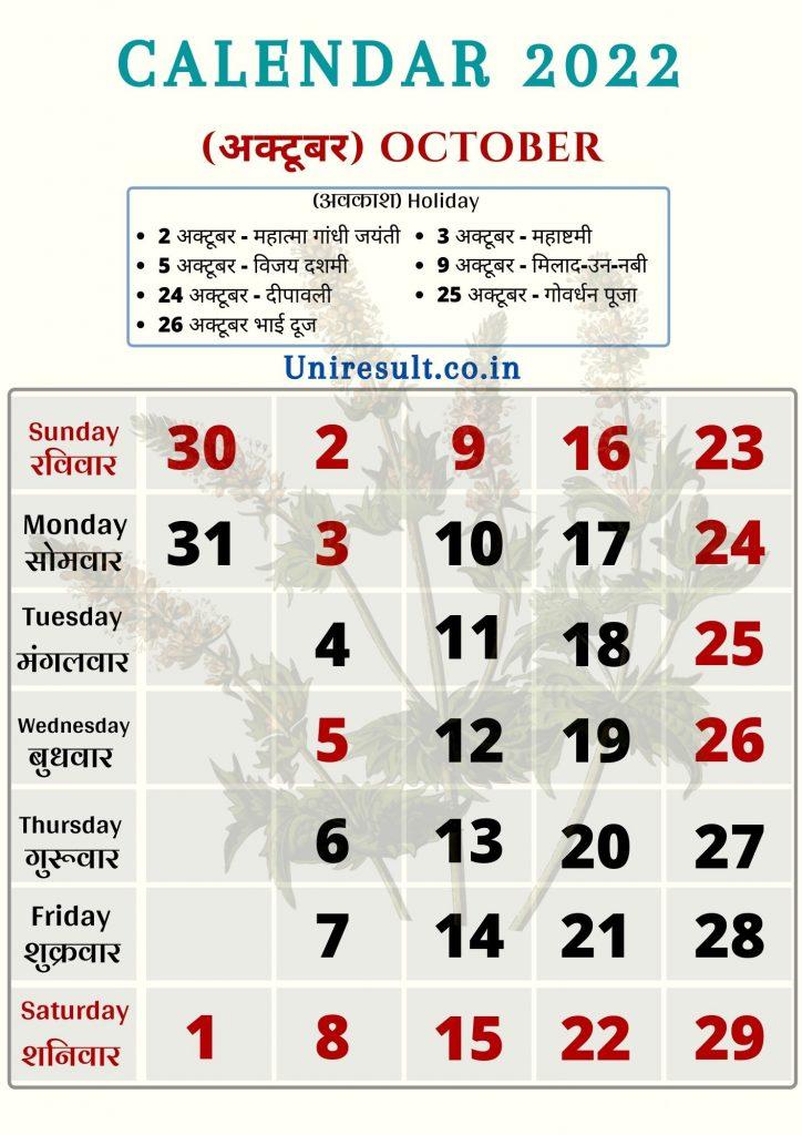 Rajasthan Government Holiday calendar October 2022