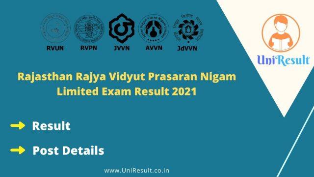 Rajasthan Rajya Vidyut Prasaran Nigam Limited Exam Result 2021