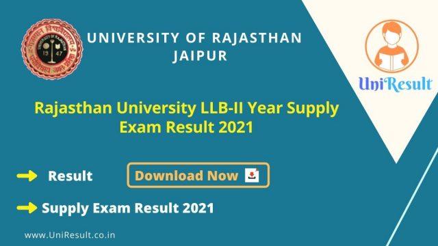 Rajasthan University LLB-II Year Supply Exam Result 2021