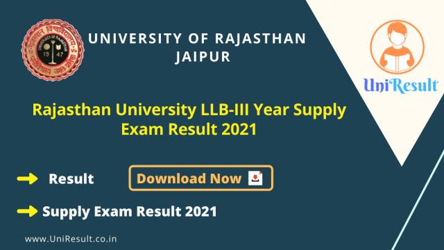Rajasthan University LLB-III Year Supply Exam Result 2021