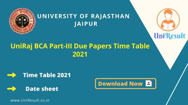 UniRaj BCA Part-III Due Papers Time Table 2021