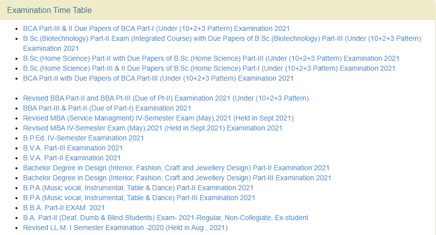 How to Download UniRaj B.C.A. Part-1 Due Papers Time Table